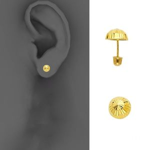 14k Yellow 5mm Half Ball Stud Earrings - Screw